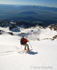 East face ski descent