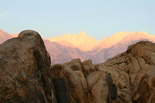 Alpenglow on the Alabama Hills