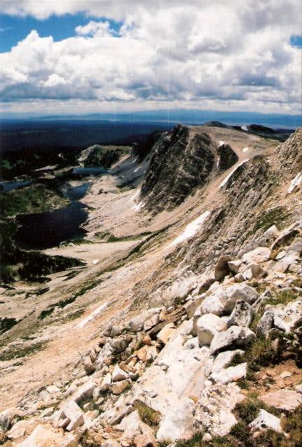 The view down from Med Bow Peak