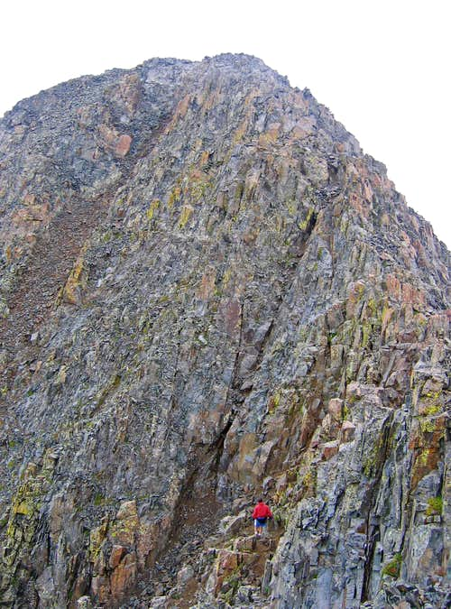 Gully climb to summit