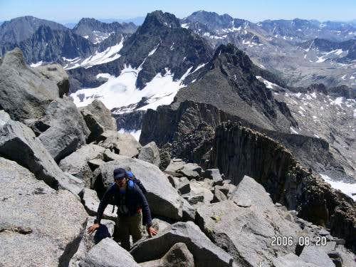 Cenk climbing near the summit