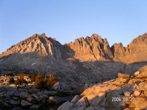 Going up in Dusy Basin at sunset