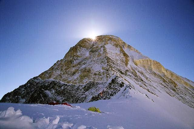 Early in the morning. Sun is coming to the Saddle from behind the Summit of Khan-Tengri