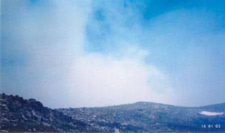 Smoke rises over Kosiuszko...