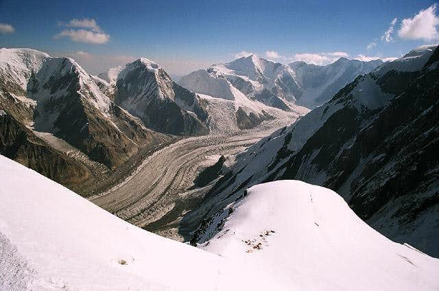 Camp II (5500m) from above. Khan Tengri from the North