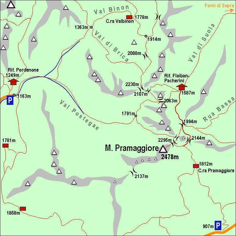 Monte Pramaggiore Map