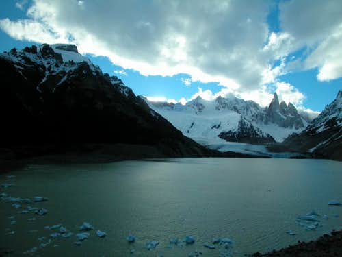 Cerro Torre and Laguna Torre at sunset