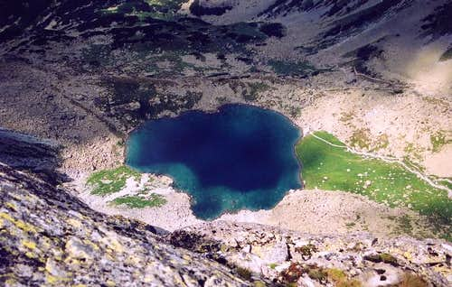 Litvorove Pleso lake from Velicky Stit