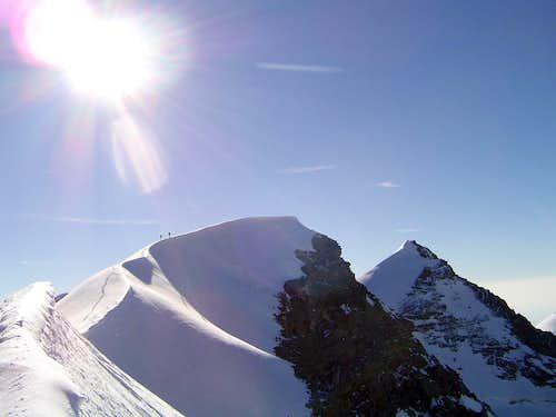 Last steps to Lyskamm West summit