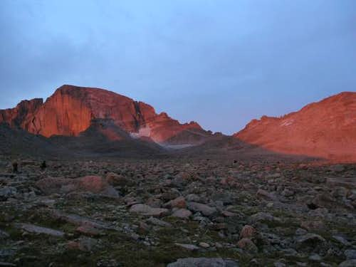 Alpenglow on the Diamond face of Longs and the Boulder Field