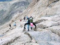 Lisa climbing the Homestretch