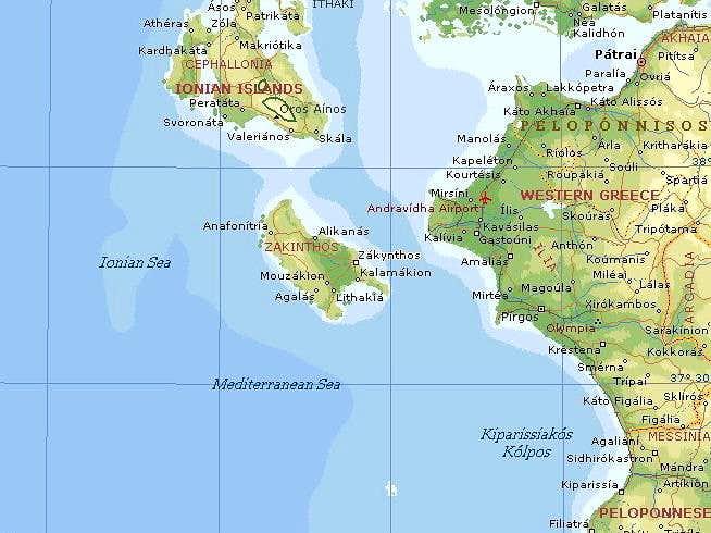 Map of Zakynthos area