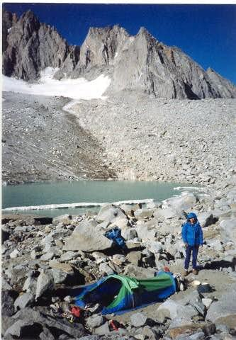 Our camp the night before climbing North Palisade via the U-Notch/Chimney variation, August 8, 1987