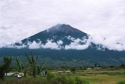 Mount Kerinci covered with...