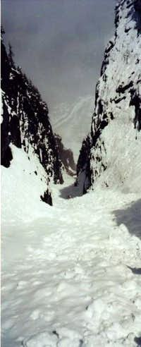 View back down the couloir....