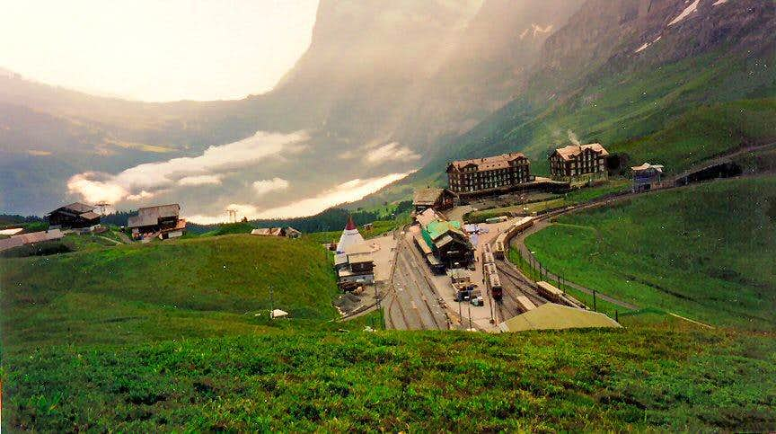 Kleine Scheidegg with a train leaving for Jungfraujoch