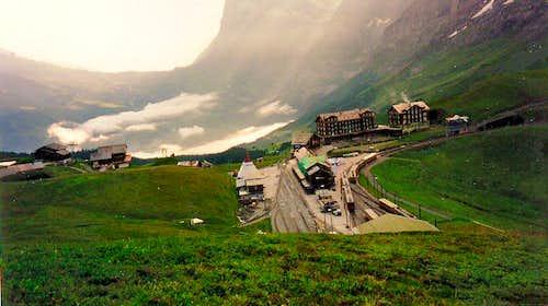 Kleine Scheidegg with a train leaving for Jungfraujoch