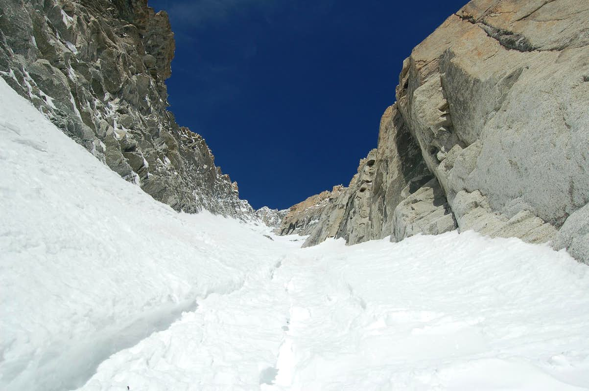 View up Jager couloir from approximately halfway up