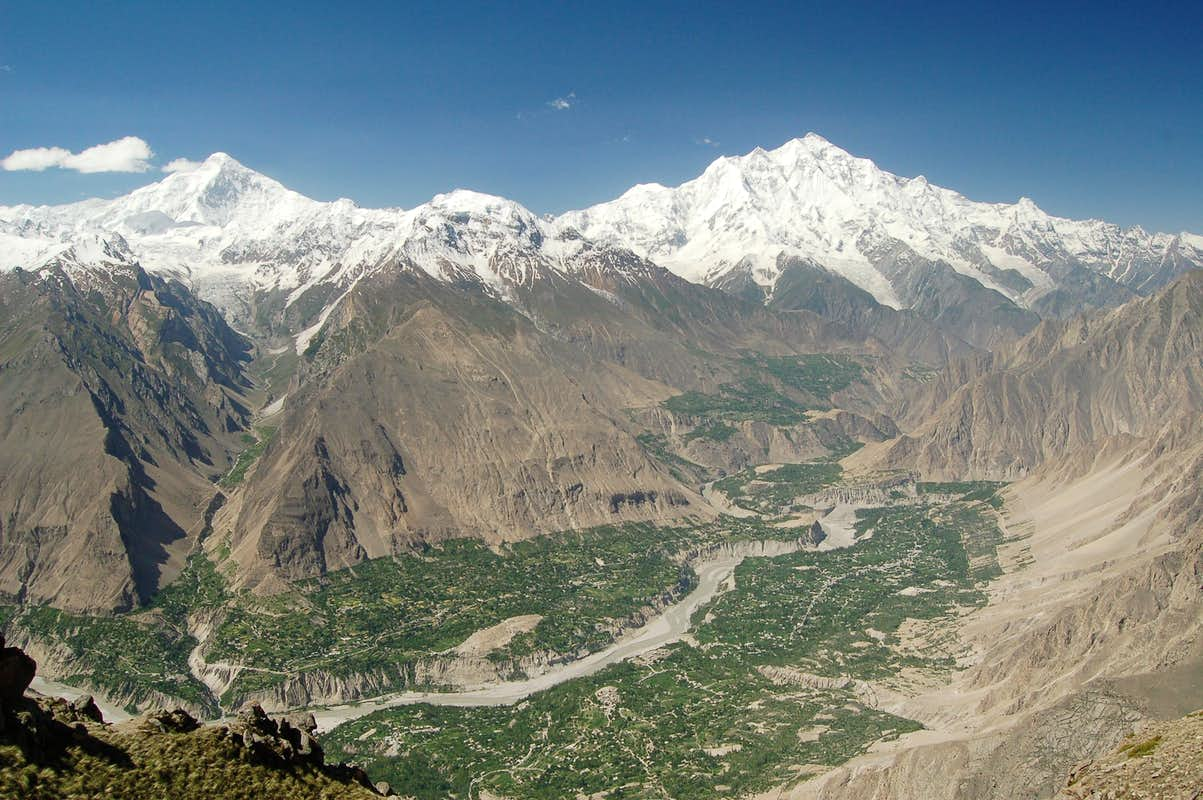Hunza valley from Hom Pass above Ultar meadow