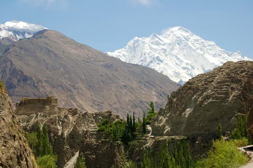 North Face of Rakaposhi (7788m) from behind Baltit fort, Karimabad