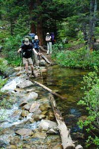 Lonny and Brian crossing Cross creek