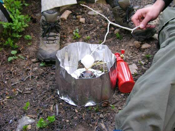 Making smores...with a backpacking stove