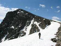 Brian, hiking up the cornice
