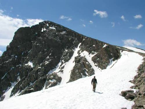 Brian, hiking up the cornice