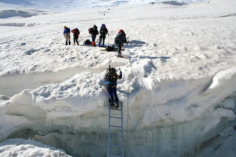 Ladder over crevasse