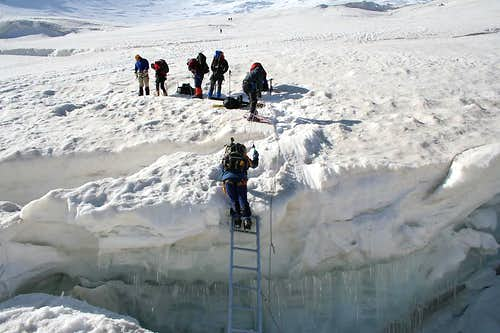 Ladder over crevasse
