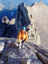 brenta scrambles between the second and third towers.