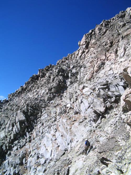 Climbing below the summit