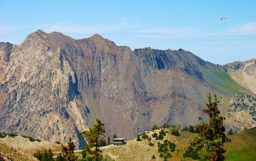 Parasailer above Mount Superior
