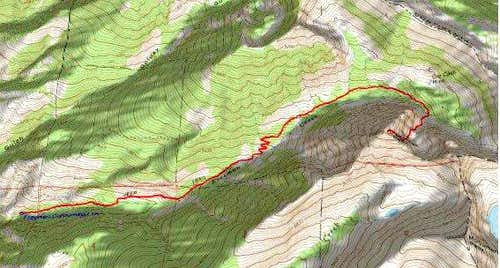 3D Topo of Route up Freeman