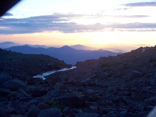 camp and creek at sunrise