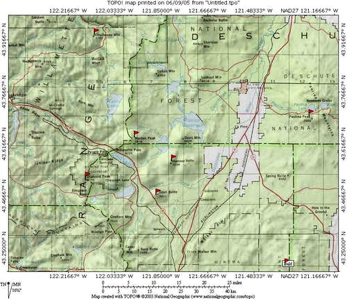 Odell Butte area map