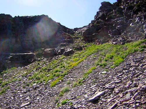 Descending steep scree-filled slope into Blanche Fork West