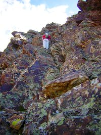 Justin went first up Route  A  on west buttress