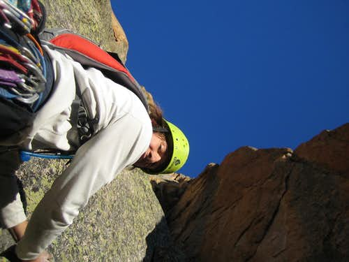 At the belay of pitch 7