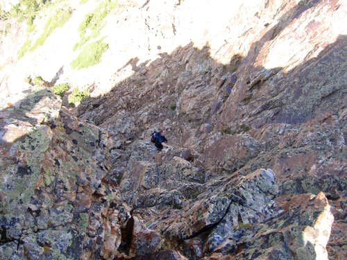 Matt ascending the butress west of Sunrise
