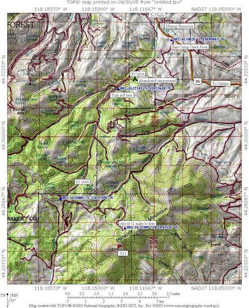 Ironside Mtn map