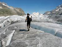 Crossing the Grosser Aletschgletscher