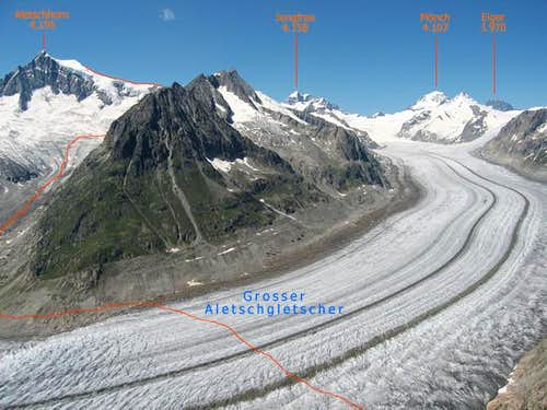 Aletschhorn and Grosser Aletschgletscher