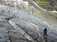 Climbing the upper section of Mittelaletsch glacier