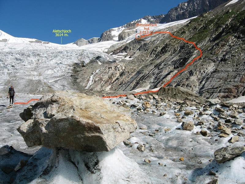 The way to return from Mittelaletsch hut to the glacier