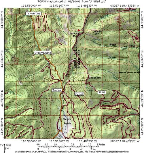 Map of Lookout Mtn