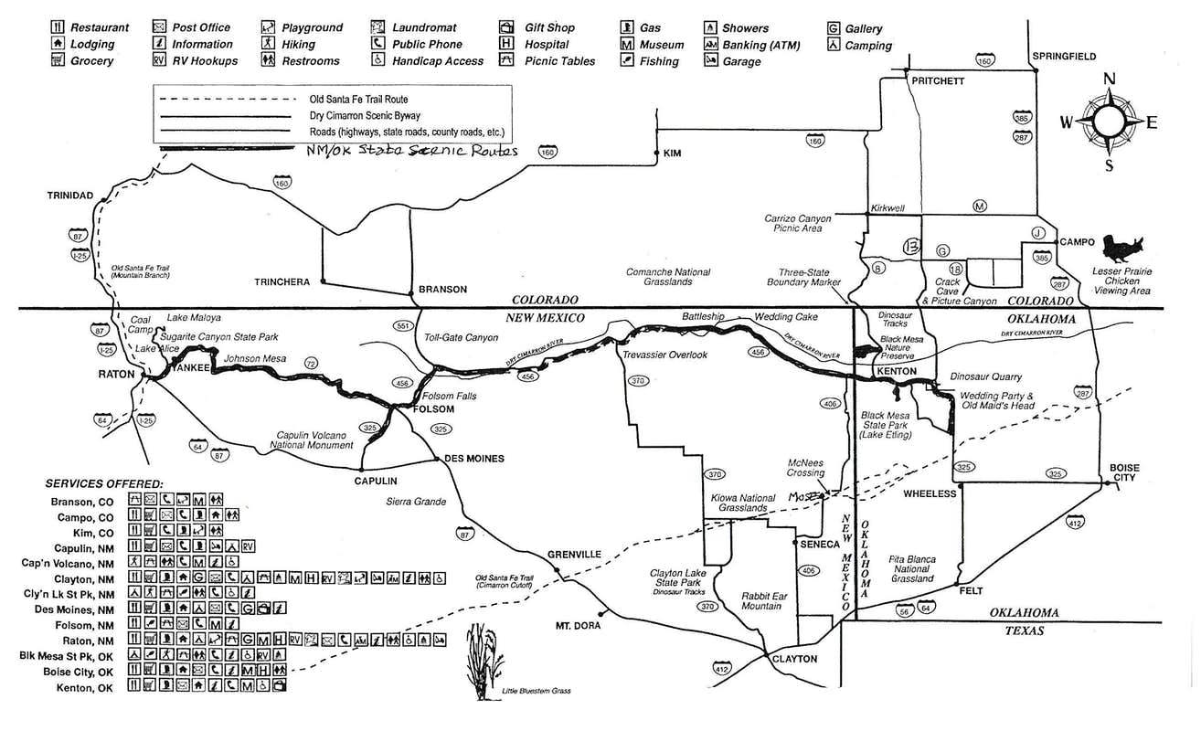 Dry Cimarron Scenic By Way Map  Photos Diagrams