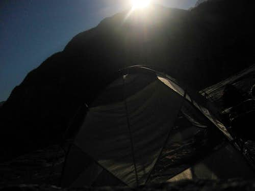 Tenting at the top under Moon Light