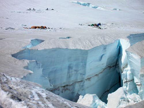 Huge crevasse at Ingraham Flats