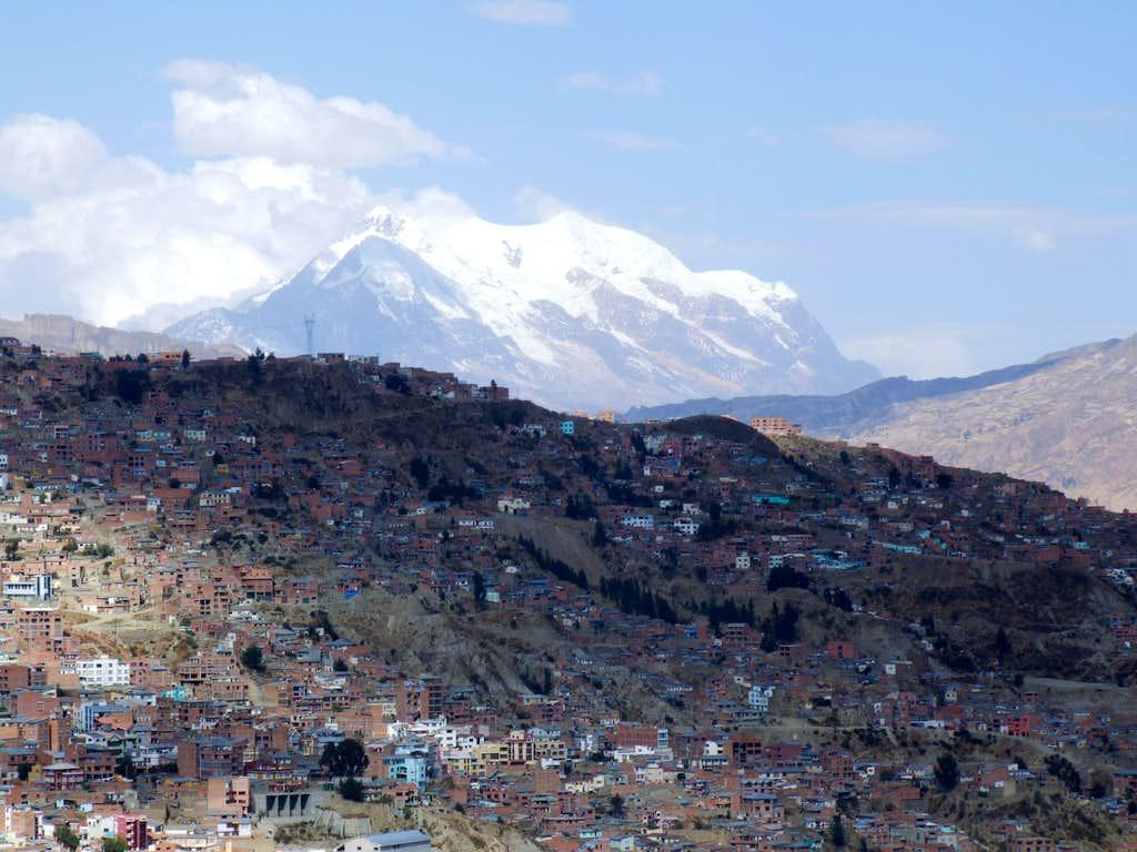 Illimani rising over La Paz